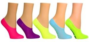 Steve Madden Women's 5-Pk. Neon Microfiber Mesh-Foot Liner Socks