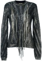 Roberto Cavalli metallic fringed jumper - women - Cotton - 40