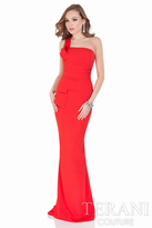 Terani Evening - Lustrous One Shoulder Straight Neck Column Gown 1621E1508