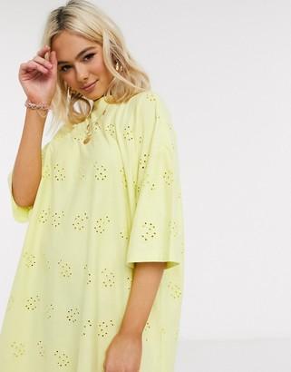 ASOS DESIGN broderie super oversized t-shirt dress in lemon