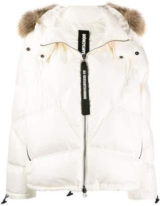 As65 raccoon fur hooded puffer jacket