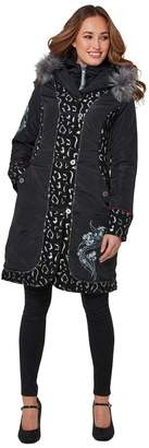 Joe Browns Leopard Print Embroidered Coat with Faux Fur Hood