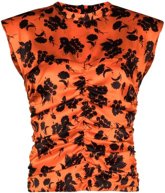Ganni Floral-Print Ruched Blouse