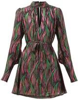 Saloni Tania Rainbow-jacquard Silk-blend Dress - Womens - Black Multi