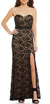 B. Darlin Strapless Two-Tone Lace Illusion-Inset Long Dress
