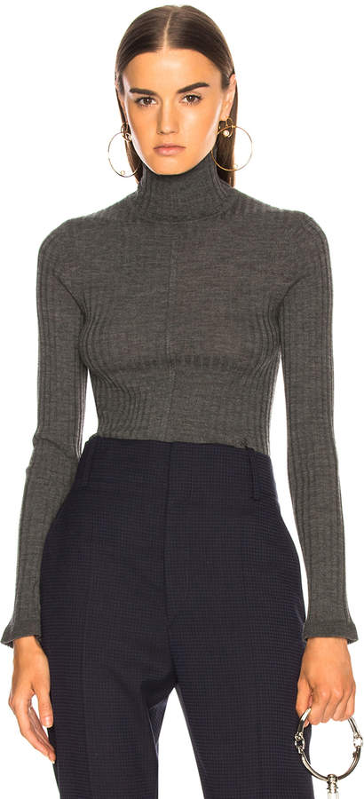 Chloé Fine Rib Wool Knit Turtleneck Sweater in Pearly Black   FWRD