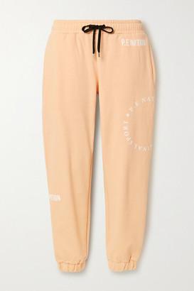 P.E Nation Field Goal Flocked Organic Cotton-jersey Track Pants - Pastel orange