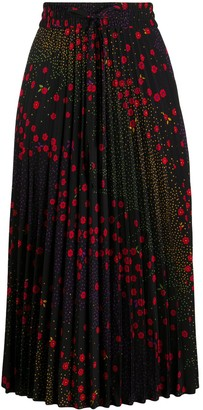 RED Valentino Floral-Print Pleated Skirt