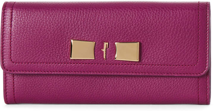 Salvatore Ferragamo Fuchsia Vara Leather Flap Wallet