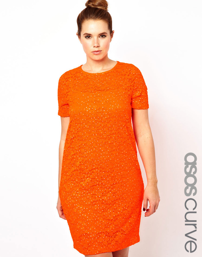 Asos Shift Dress In Sparkle Lace