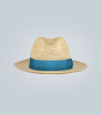 Borsalino Straw Panama hat with contrast band