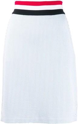 Thom Browne RWB-detail Seersucker skirt