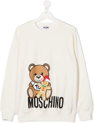 MOSCHINO BAMBINO TEEN gingerbread man teddy sweatshirt