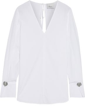 3.1 Phillip Lim Button-embellished Cotton-poplin Blouse