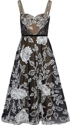 Marchesa Flared Embroidered Point D'esprit Midi Dress