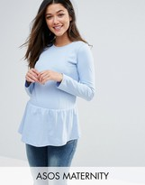 Asos Top with Exaggerated Ruffle Hem and Long Sleeve