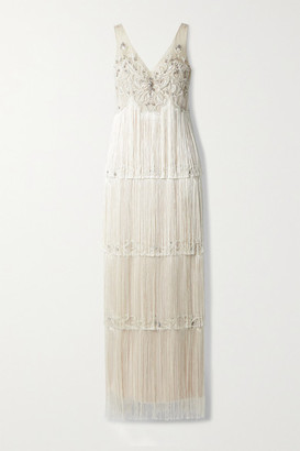 Marchesa Notte Embellished Fringed Tulle Gown - Beige
