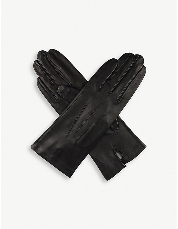 Dents Women's Black Classic Silk-Lined Leather Gloves, Size: 8