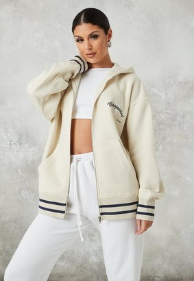 Missguided Stone Brushed Back Sports Club Oversized Zip Front Hoodie