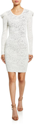 Milly Pointelle Lace Long-Sleeve Draped-Shoulder Sheath Dress