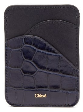 Chloé Walden Crocodile-embossed Leather Cardholder - Womens - Navy