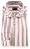 Ermenegildo Zegna Bold-Stripe Dress Shirt, Burgundy/White