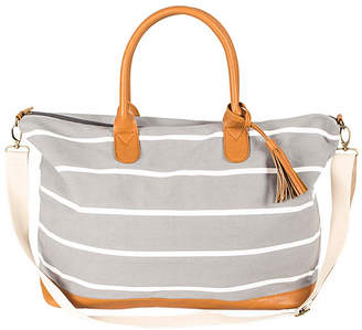 Cathy's Concepts Cathy Concepts Personalized Grey Striped Oversized Weekender Tote