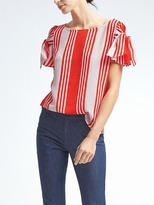 Banana Republic Easy Care Stripe Bow-Sleeve Top