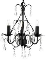 Bed Bath & Beyond Wrought Iron & Crystal 3-Light Chandelier in Black