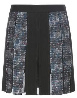 Diane von Furstenberg Maison pleated crêpe and tweed miniskirt