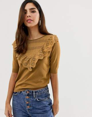 Naf Naf knitted short sleeve top with volants in the front