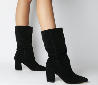 Office Karla Pointed Block Calf Boots Black Suede