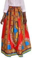 SG Womens Summer African Floral Print High Waist A Line Long Maxi Skirt