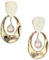 Akola 14MM Pearl & Horn Open-Hoop Dangling Clip-On Earrings