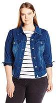 Liverpool Jeans Company Women's Plus Size Classic Jacket in Powerflex Knit Denim