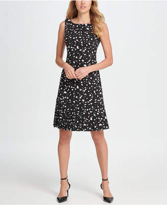 DKNY Short Sleeve Fit & Flare Crepe Dress