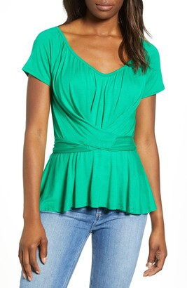 Loveappella Wrap Tie Back Peplum Top