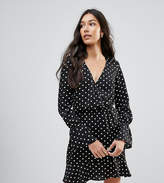 Oh My Love Tall Polka Dot Wrap Frill Long Sleeve Dress