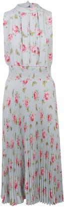 Prada Sleeveless Floral Pleated Dress