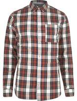 River Island MensRed plaid check shirt