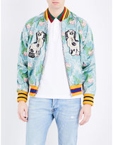 Gucci Twin Dog-print Jacquard Bomber Jacket
