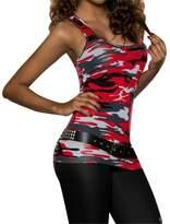 C-Pioneer Women's Low-Cut Basic Sleeveless Camo Vest Top Blouse Casual Tank Tops T-Shirt (L, )