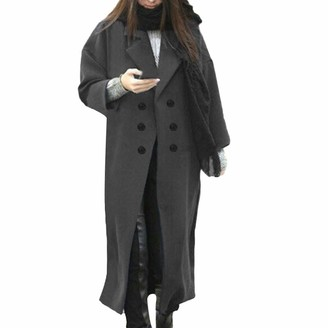 iHAZA Lapel Wool Long Coat Women Winter Trench Jacket Button Overcoat Outwear Gray