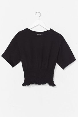 Nasty Gal Womens Shirred All About It Cropped Tee - Black - 6