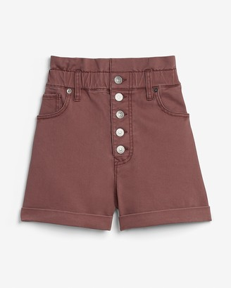 Express Super High Waisted Button Fly Paperbag Shorts