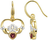 JCPenney FINE JEWELRY Heart-Shaped Genuine Garnet and Diamond-Accent Claddagh Earrings