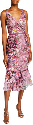 Marchesa Notte Floral Printed Soutache V-Neck Sleeveless Ruffle-Hem Dress