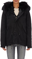 Mr and Mrs Italy Women's Fur-Lined Canvas Mini Parka-BLACK