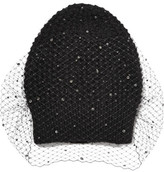 Jennifer Behr Crystal Voilette Embellished Angora And Merino Wool-blend Beanie - Black