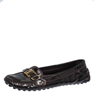 Louis Vuitton Burgundy Patent Leather Oxford Ballet Flats Size 39